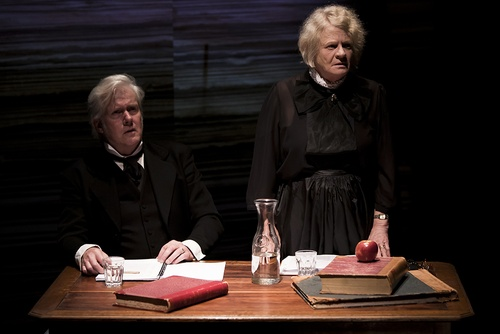Actors Peter Finley and Liz Jones portray Commissioners Ewen Cameron and Anne Fraser Bon. Their views of justice for Aboriginal people differed significantly.(La Mama Courthouse Theatre, Melbourne, 2011. Photo: Steven Rhall. Click to enlarge)