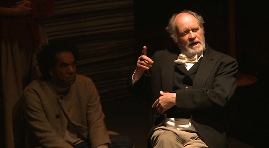 Actor Jim Daly portrays Edward M Curr, an influential member of the Board for the Protection of Aborigines. (La Mama Courthouse Theatre, Melbourne, 2011. Photo: MoE Project. Click to enlarge)